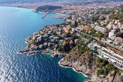 Beautiful panoramic view of the coast of the South of France. Cote d'azur, nice. Aerial photography.