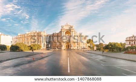 Beautiful panoramic view of the Odessa State Academic Opera and Ballet Theater early in the morning without people. Building for art, landmark, building in the style of the new Viennese baroque #1407868088