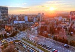 Beautiful panoramic view over Sofia capital cityscape at sunrise, in  Bulgaria