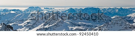 Beautiful panoramic view over the whole ridge of Tauern mountains in Austria
