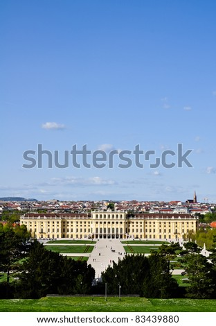 beautiful panoramic view over vienna and castle schönbrunn
