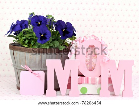 stock photo beautiful pansys in a rustic basket gifts a gift card and