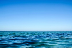 beautiful Paradise coast landscape clear sea on the horizon going into a cloudless sky