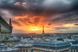 Beautiful Paris city scene at sunset.