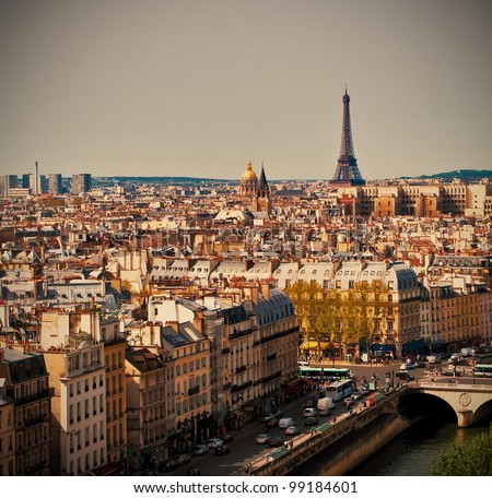 Beautiful Paris cityscape with Eiffel tower, Paris, France