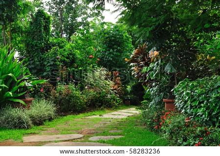 Beautiful park garden in summer. - stock photo