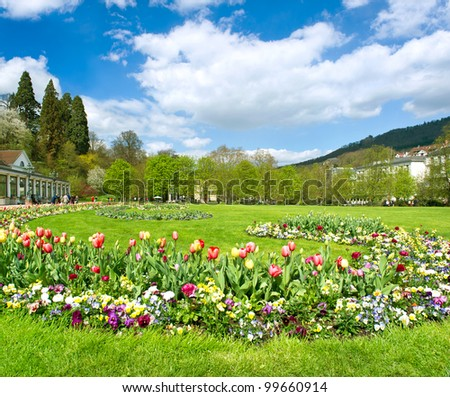 beautiful park in spring with tulip flowers blossoming. public garden in baden-baden near famous casino. germany, europe