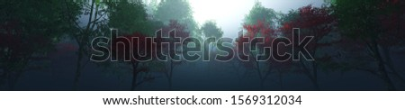 Beautiful park in the fog, trees in the morning haze. 3d rendering. stock photo
