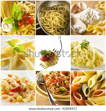 Beautiful pasta collage made from nine photographs