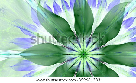 Beautiful pastel colored modern high resolution flower background with a large flower slightly on right with plastic natural looking 3D leaves, all in high resolution and in blue,purple,green - Shutterstock ID 359661383