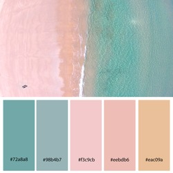 Beautiful Pastels Designer Color Palette inspired by aerial views of summer beach taken in South Australia. Designer pack with photograph and swatches with hex codes references.