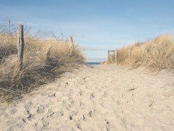 Beautiful pathway to the beach on a sunny winter day