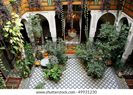 Beautiful patio in Morocco - stock photo