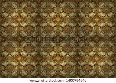 Beautiful pattern for textile, scrapbooking. Graceful, delicate ornamentation in the Rococo style. Classic style. Patterns on brown and beige colors. Raster illustration. Seamless in Baroque style.
