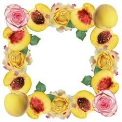 Beautiful pattern of peaches and roses. Isolated