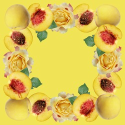 Beautiful pattern of peaches and roses isolated on yellow background