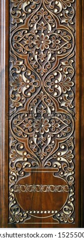 Beautiful patterns, wooden carved. Eastern architectural decoration.     #1525500023