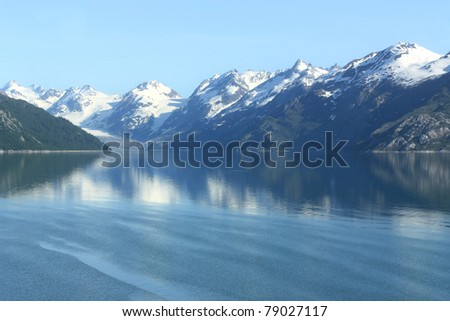 Beautiful peaceful water in Glacier Bay, Alaska