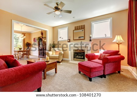 Beautiful Peach And Red Living Room Interior With Fireplace And ...