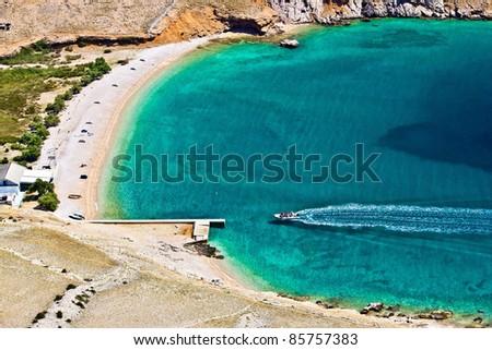 Beautiful pebbles & sand hidden turquoise beach on Island of Krk, Croatia