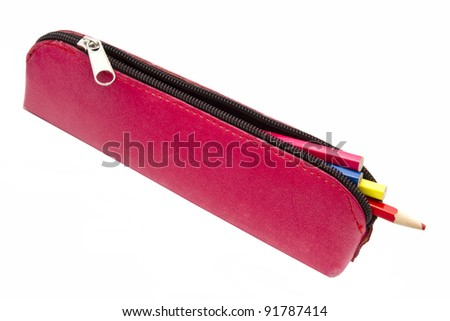 Beautiful pencil case isolated on white