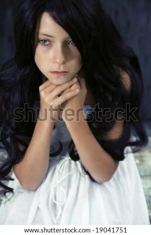 Beautiful pensive young girl