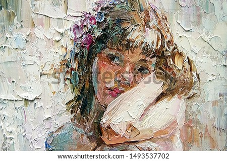 Beautiful pensive young girl with flower in her hair. Created in expressive manner and light colors, palette knife technique of oil painting and brush.