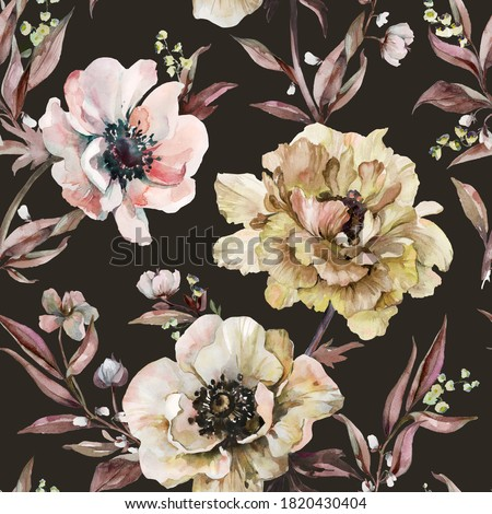 Beautiful peony, anemone flowers with leaves on background. Seamless floral pattern, border. Watercolor painting. Hand drawn illustration. Design for fabric, wallpaper, bed linen, greeting card design Stockfoto ©