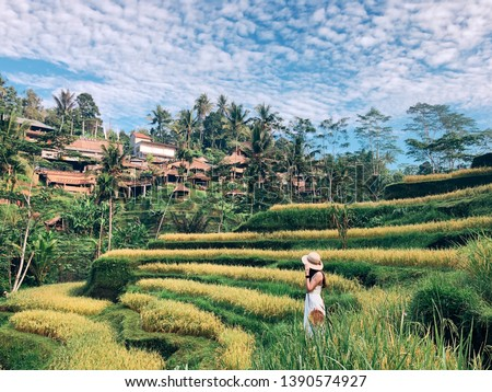 Beautiful people with beautiful scenery at Tengalalang Rice Terrace