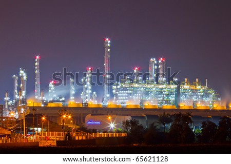 beautiful petrochemical oil refinery plant at night