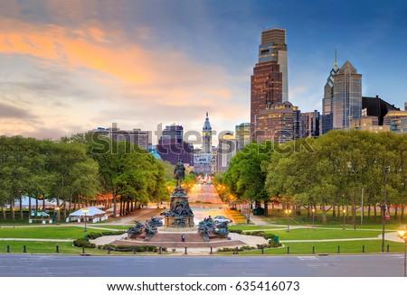 Beautiful philadelphia skyline at sunset in USA #635416073
