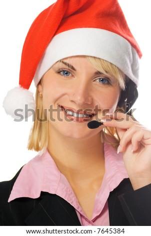 Beautiful phone operator in Santa hat