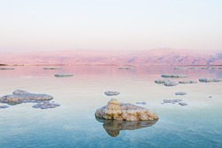 Beautiful photo coast of the Dead Sea , Israel . Bokeh .