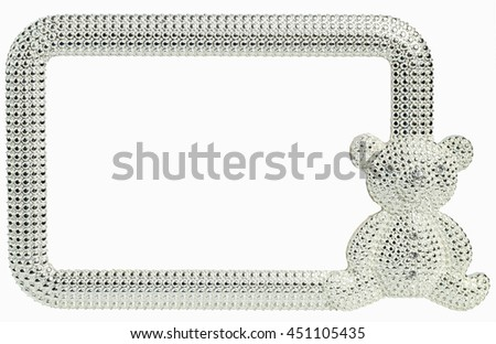 Beautiful photo frame Bear inlaid rhinestones with place isolated for your photo.
