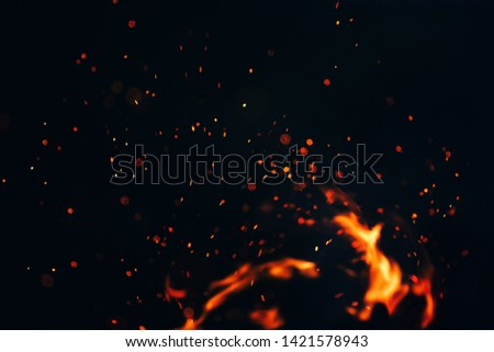 beautiful photo, the texture of the campfire at night, the flare of sparks in the air on a black background Foto stock ©