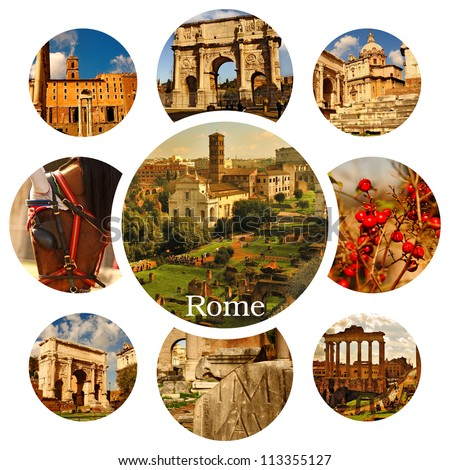 Beautiful photos of the famous places in Rome. Collage