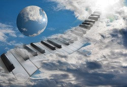 Beautiful piano keys in the clouds ascending into the sky.