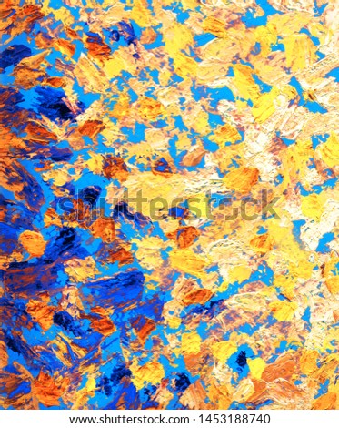 Beautiful pictorial handmade gouache dab etude sketchy in modern style with space for text. Brush paint drawn vivid orange faded grainy spots on deep cyan color fond. Macro view #1453188740