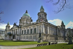 Beautiful Picture of City Hall in Belfast Northern Ireland, with bright blue sky.