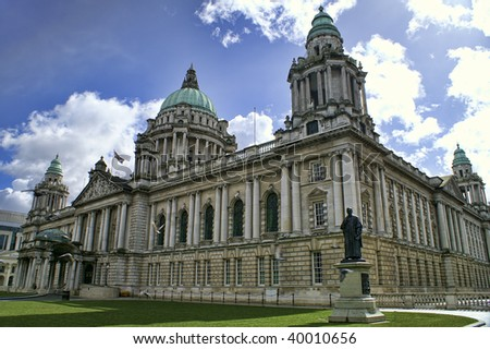 Beautiful Picture of City Hall in Belfast Northern Ireland, with bright blue sky. - stock photo