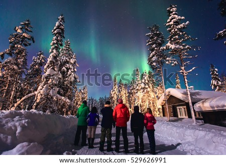 Beautiful picture of massive multicolored green vibrant Aurora Borealis, Aurora Polaris, also know as Northern Lights in the night sky over winter Lapland landscape, Norway, Scandinavia  #529626991