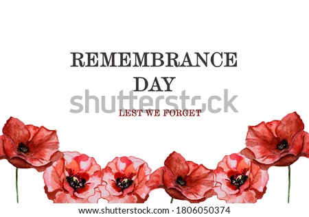 Beautiful picture of poppy flowers. Happy Remembrance Day. Close-up, view from above. National holiday concept. Congratulations for family, relatives, friends and colleagues Foto stock ©