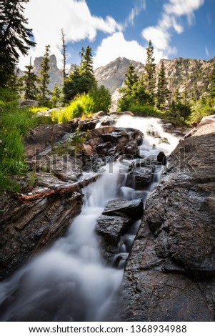 Beautiful picture of water cascade with rocks, trees in Rocky Mountains National Park, Colorado.