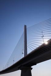 Beautiful pillar of the suspension bridge,