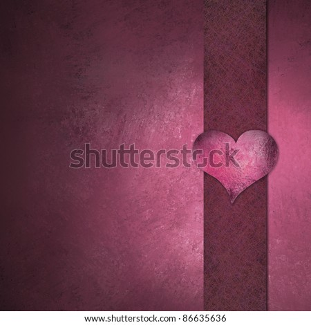 beautiful pink background with vintage grunge texture, heart symbol on ribbon border frame for love or valentine's day, soft highlight, with copy space
