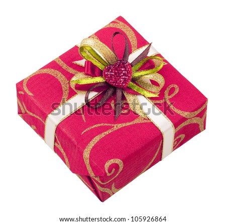 Beautiful pink box with tape and heart for gifts isolated on white background