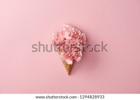 beautiful pink carnation flowers in waffle cone isolated on pink  #1294828933