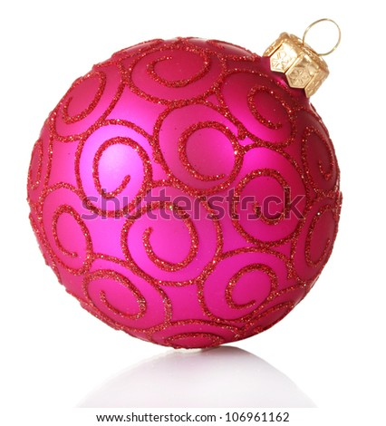 beautiful pink Christmas ball isolated on white