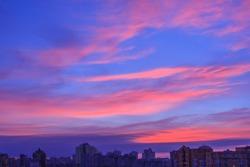 Beautiful pink clouds at sunrise