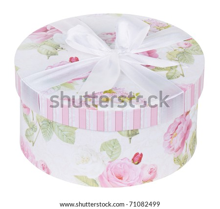 Beautiful pink gift box tied up by a white tape with a bow, isolated on a white background - stock photo